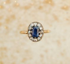 I LOVE THIS RING. Antique Sapphire Ring - Diamond and Sapphire Ring. $2,600.00, via Etsy.