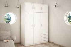6-dverová šatníková skriňa VILMA Vám poskytne množstvo úložného priestoru. K dispozícií máte vešiakovú tyč, 5 priestranných políc a 3 zásuvky. V prevedení biela. K dispozícií máte ďalších 6 farebných prevedení na výber. #byvanie #domov #nabytok #skrine #klasickeskrine #modernynabytok #designfurniture #furniture #nabytokabyvanie #nabytokshop #nabytokainterier #byvaniesnov #byvajsnami #domovvashozivota #dizajn #interier #inspiracia #living #design #interiordesign #inšpirácia Tall Cabinet Storage, Locker Storage, Lockers, Furniture, Home Decor, Decoration Home, Room Decor, Locker, Home Furnishings