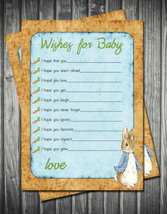 Baby Shower-Vintage Peter Rabbit Wishes for Baby Card. $18.00, via Etsy.