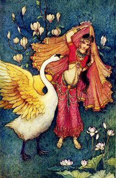Damayanti and the Swan by Warwick Goble for 'Indian Myth and Legend' by Donald A. Mackenzie