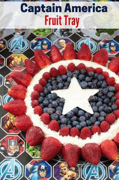 This captain america fruit tray is perfect for any superhero or avengers theme party. Fruit Recipes, Dessert Recipes, Xmas Recipes, Kid Recipes, Healthy Recipes, Healthy Chef, Dessert Ideas, Crockpot Recipes, Cake Ideas