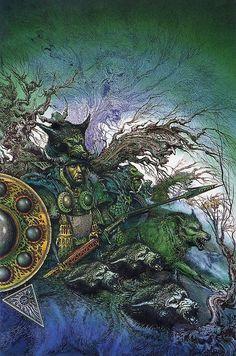 "translucentmind: ""The Wolf King Of Tara // Ian Miller "" Warhammer Art, Warhammer Fantasy, High Fantasy, Sci Fi Fantasy, Sword And Sorcery, Science Fiction Art, Fantasy Warrior, Fantasy Illustration, Art Graphique"