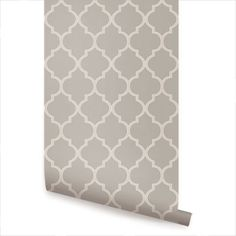 Moroccan Warm Grey Peel & Stick Fabric Wallpaper Repositionable - Simple Shapes Wall Decals, Furniture, and Accessories