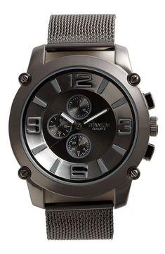 Titanium 'Big Number' Mesh Watch