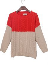 Red and Apricot Cable Rhombus Knitted Jumper Sweater $31.13