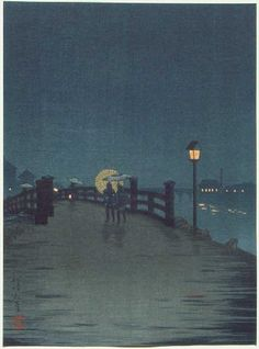 "Kobayashi Kiyochika  Title: Crossing a Country Bridge  Series: Shima Art Company Kiyochika's ""Night Scenes""  Date: 1910-20's  Medium: Japanese Woodblock Print  Size: 7.4 x 10 inches  Publisher: Shima Art Company (Tokyo publisher--known active 1908 to ca1939/40)"