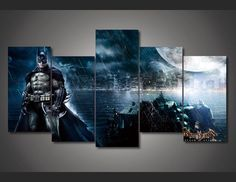 Batman+Scene+Movie+5pc+Wall+Decor+Framed++Oil+Painting