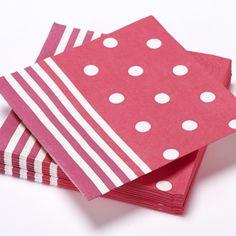 Serviettes en papier Mixy, points et rayures, rouge fuchsia