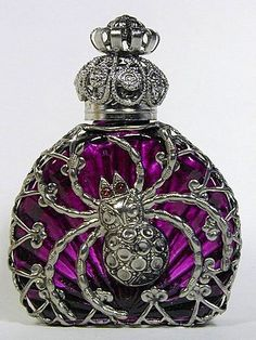 482006 VINTAGE CZECH HAND MADE PERFUME BOTTLE WITH TOPPER | eBay...look at that spider design.