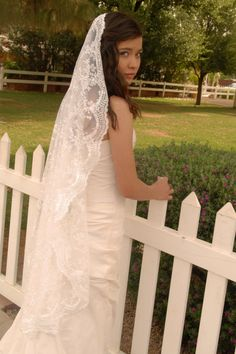 Lace Mantilla Wedding Veil  Madrid by UrbanVeilsCouture on Etsy, $155.00