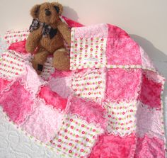 Baby Girl Flannel Rag Quilt Blanket Throw in Pink by KeriQuilts, $50.00