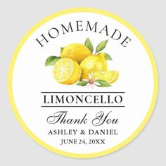 Watercolor Lemons Wedding Thanks Limoncello Classic Round Sticker