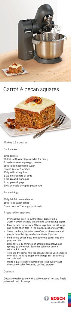 Use the Bosch MaxxiMUM to make scrummy carrot & pecan squares.