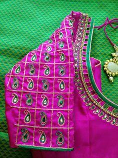 Saree Kuchu Designs, Kids Blouse Designs, Pattu Saree Blouse Designs, Simple Blouse Designs, Bridal Blouse Designs, Blouse Neck Designs, Hand Designs, Sleeve Designs, Peacock Embroidery Designs