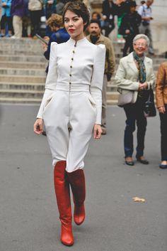 Ulyana Sergeenko at Paris Fashion Week Spring 2014. Street style