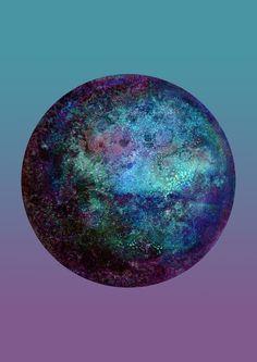 Kepler-22b blue gradient #watercolor#moon#artsy#artwork#art