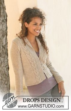 "Fitted DROPS jacket in stockinette st with cables in ""Alpaca"". Size S-XXXL. ~ DROPS Design"