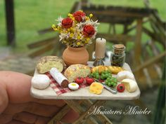 Miniature Dollhouse Gourmet Dinner On The Serving by Minicler
