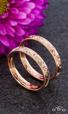 Rose Gold Hand Engraved Wedding Bands. Green Lake Jewelry #RoseGoldJewellery