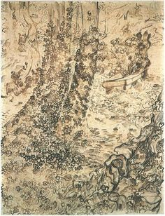 Trees with Ivy by Vincent Van Gogh Vincent van Gogh   Drawing, Pencil, reed pen, brown ink  Saint-Rémy: May - 15-20, 1889