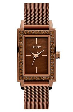 Brown, DKNY Rectangular Mesh Strap Watch | Nordstrom