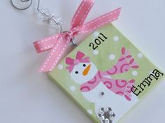 3x3 Canvas Christmas Ornament  - Personalized For sale on Etsy, though I think I could make something similar