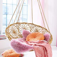Coral and sunset orange indoor boho swings