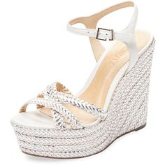 Schutz Women's Monicah Bradied Leather Wedge - White - Size 10 ($139) ❤ liked on Polyvore featuring shoes, sandals, white, white wedge sandals, white leather sandals, ankle strap sandals, woven leather sandals and high wedge sandals