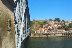 View of the Dom Luis bridge from Vila Nova De Gaia near Porto, Portugal - from www.packthesuitcases.com