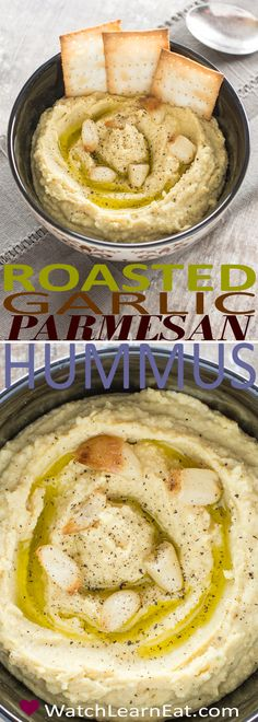 This creamy Roasted Garlic Parmesan Hummus features fresh rosemary, lemon zest and black pepper for a delicious, earthy flavor.