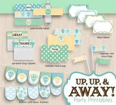 HOT AIR BALLOON Baby Shower Printable Package by PrintasticDesign