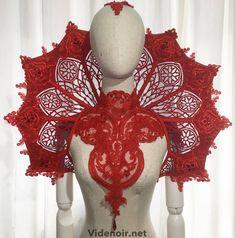 #custom #order #already gone to his owner #huge #cathedral #red #velvet #set #necklace #handmade #handprint #lace #beaded #collar #elizabethan #goth #gothic #hautegothique #black #blackmesh #blackandred