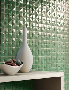 Sixty Green by Mosaico+ #mosaic Handmade tiles can be colour coordinated and customized re. shape, texture, pattern, etc. by ceramic design studios