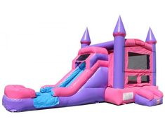 Princess Wet/Dry Slide -- great fun any time of year! Celebrate your little princess in a grand way with this bouncy house/slide combo. To turn this into a water slide, all we need to do is connect it to a garden hose! Disney Princess Books, Princess Castle, Bouncy House, Bouncy Castle, Bounce House Parties, House Party, House Slide, Bounce House Rentals, Kid Bedrooms