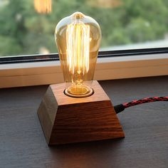 Edison LampWood LampWooden Edison LampTable by MasterWoodUA Edison Lamp, Edison Lighting, Solar Light Crafts, Solar Lights, Lamp Light, Light Bulb, Light Fixture, Steampunk Lamp, Wooden Lamp