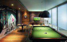 Salão de Jogos Bar Interior, Billards Room, Gentlemans Lounge, Contemporary Garden Rooms, Gaming Lounge, Pool Table Room, Man Cave Room, Luxury Bar, Modern Basement