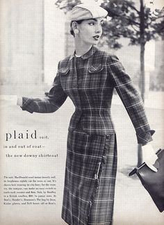 Plaid from the Past! Classic 1955 fashion photography showing sensational plaid.   Enjoy my pins!  Best, Kerry www.thefirstlookimage.com