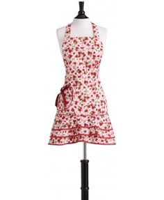 Strawberry Gingham Loretta Apron • Hostess Aprons • Aprons • Aprons • Jessie Steele