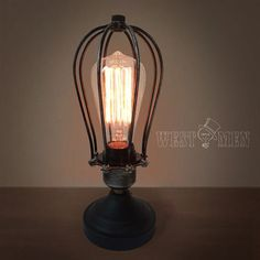 Vintage Rustic Cage Dimmer Table Lamp  by HandmadeLampWorks, $88.80