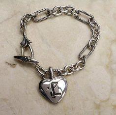 "ANN KING STERLING SILVER / 18K QUINCE INITIAL L HEART 8""L BRACELET QVC - http://designerjewelrygalleria.com/ann-king/ann-king-sterling-silver-18k-quince-initial-l-heart-8l-bracelet-qvc/"