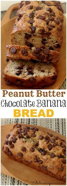 Peanut Butter Chocolate Banana Bread Recipe | http://whatscookingamerica.net 3 of my hubbys most fav.things