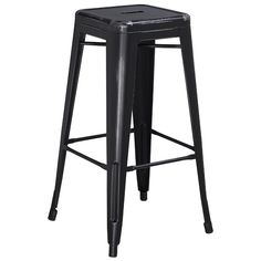 Outfit the home bar or accent your favorite seating group with this essential stool, perfect in the parlor or den.<br/>This stool will add a modern industrial appearance to your home or work space. This space-saving stool is stackable making it great for storing. A cross brace underneath the seat adds extra stability and features plastic caps that prevent the finish from scratching when stacked. The legs have protective rubber feet that prevent damage to flooring. This all-weather ...