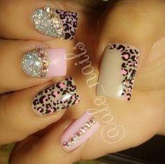 #alenails #cheetahprint #sparkles #rhinestones #tan #pink #black