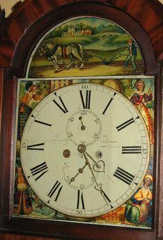 Scottish Mahogany Grandfather Tall Case Clock  Signed Dialhttp://www.rubylane.com