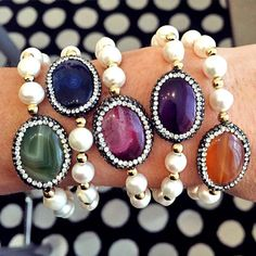 Set By Vila Veloni Multicolor Elegant Stone Bracelets