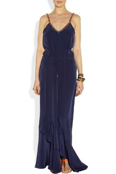 Vix | Kalahari embroidered silk crepe de chine maxi dress | NET-A-PORTER.COM