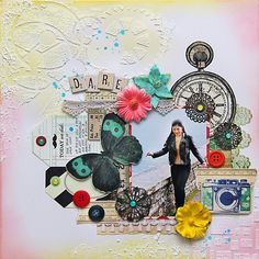 #Scrapbook page by Iris Babao Uy  Mixed media style.