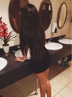 Long hair and little black dress