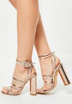 Rose Gold Clear Multi Strap Block Heeled Sandals