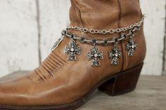 Silver Cross Boot Bracelet - Classy Country